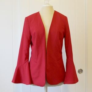 Worthington Red Bell Sleeve Open Blazer Jacket M